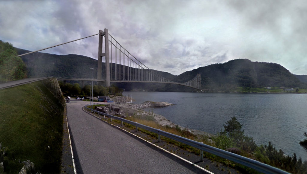 Prosjektert bro over Masfjorden