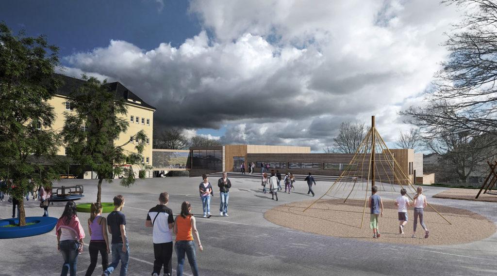 Bilde av skolegården Minde skole